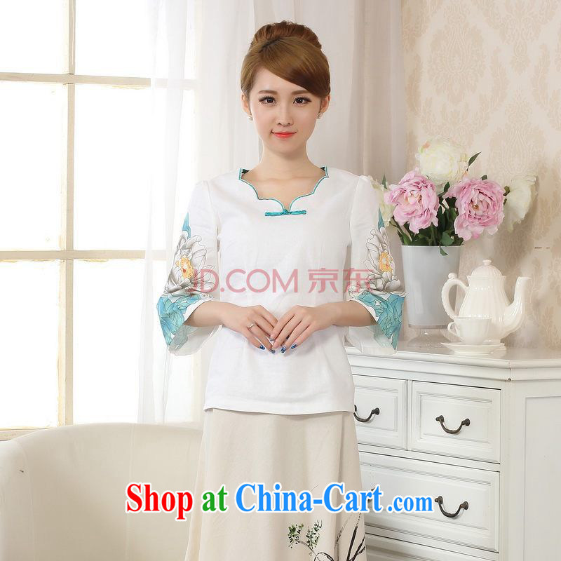 The broadband new hand-painted horn cuff cheongsam shirt linen Chinese Ethnic Wind blouses Tang with improved white 2XL