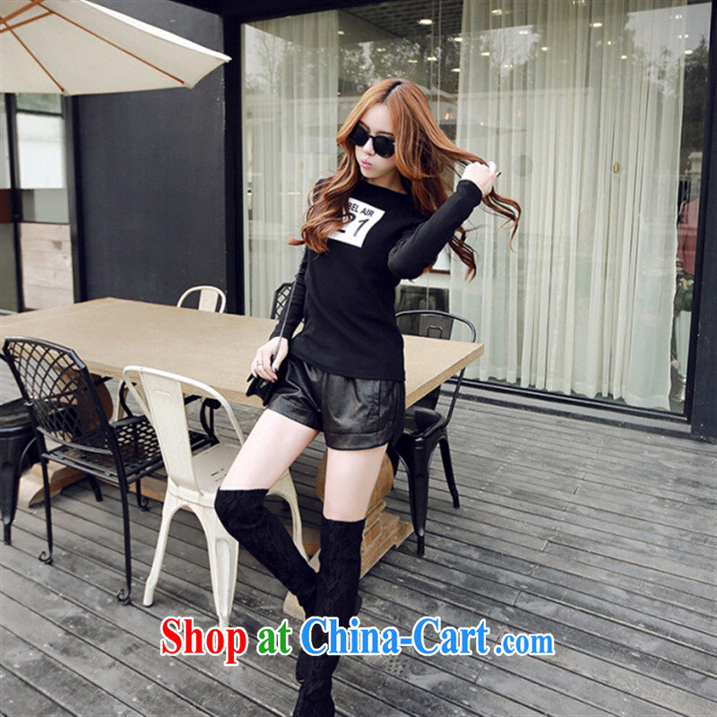 Qin Qing store 2015 spring new and small, for M, stamp students T shirt long-sleeved cotton shirt solid black L