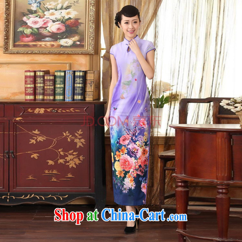 The frequency response, Ms. Tang cheongsam with Diane Fong water droplets collar short-sleeved cultivating long double cheongsam - A purple 2 XL