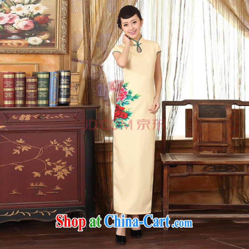 The broadband outfit, Ms. Tang is the color day Hong Kong cheongsam dress beauty graphics thin elegance dress long cheongsam yellow 2XL