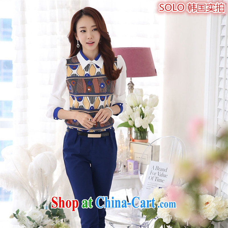 Deloitte Touche Tohmatsu store sunny spring 2015 the new, larger female casual Korean Beauty snow woven long-sleeved baby collar solid shirt picture color XL
