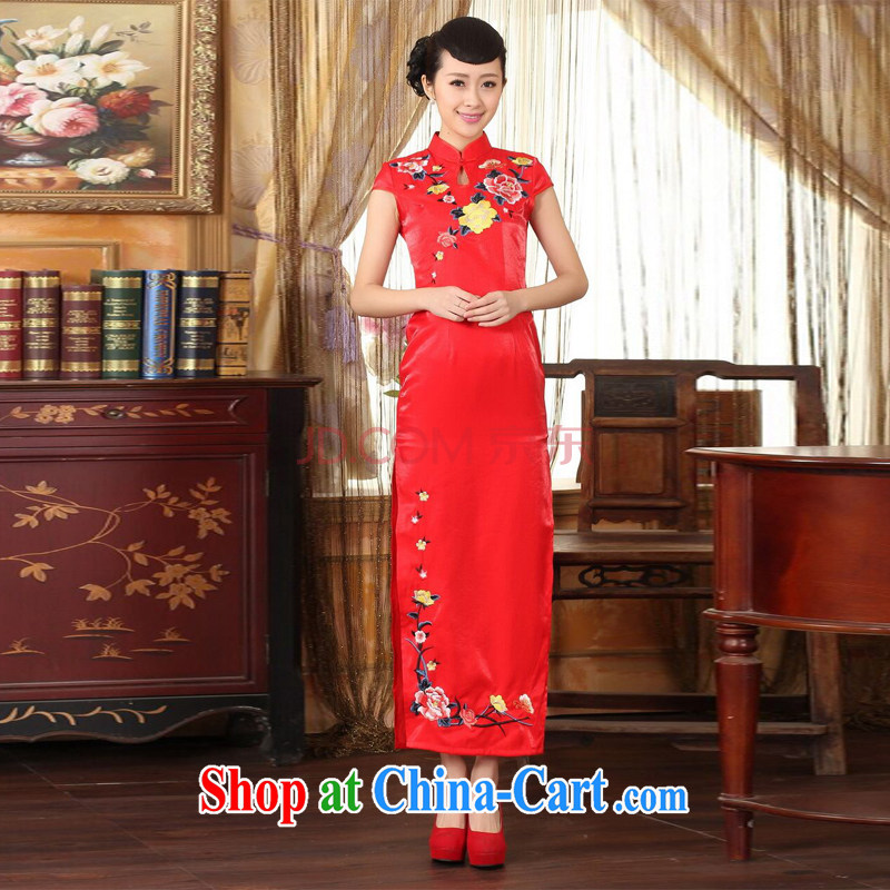 The broadband outfit Ms. Tang red embroidery cheongsam dress beauty graphics thin elegance dress long cheongsam red 2 XL