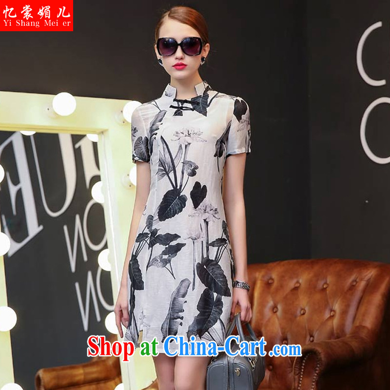 Recall that advisory committee that Children Summer 2015 New Beauty style classic Silk Cheongsam 85,105 black suit S