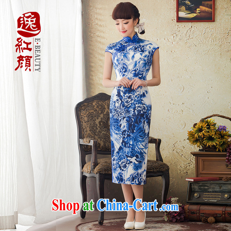 once and for all and Mr Ronald ARCULLI proverbial hero Hong Kong Silk long-day, blue and white porcelain goods new and improved, spring and summer stamp cheongsam dress blue and white porcelain 2 XL April 26 ship date