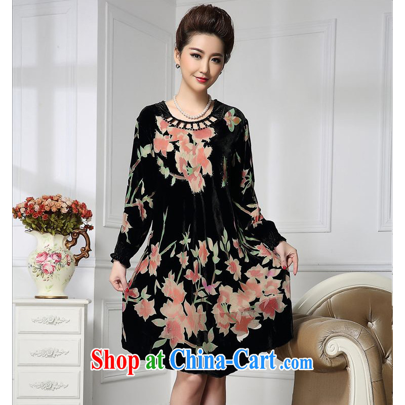 Forest narcissus 2015 spring loaded on the new round-collar inserts drill the cuffs Chinese mother with cheongsam silk stitching sauna silk velvet dress HGL - 658 pink flower XXXXL