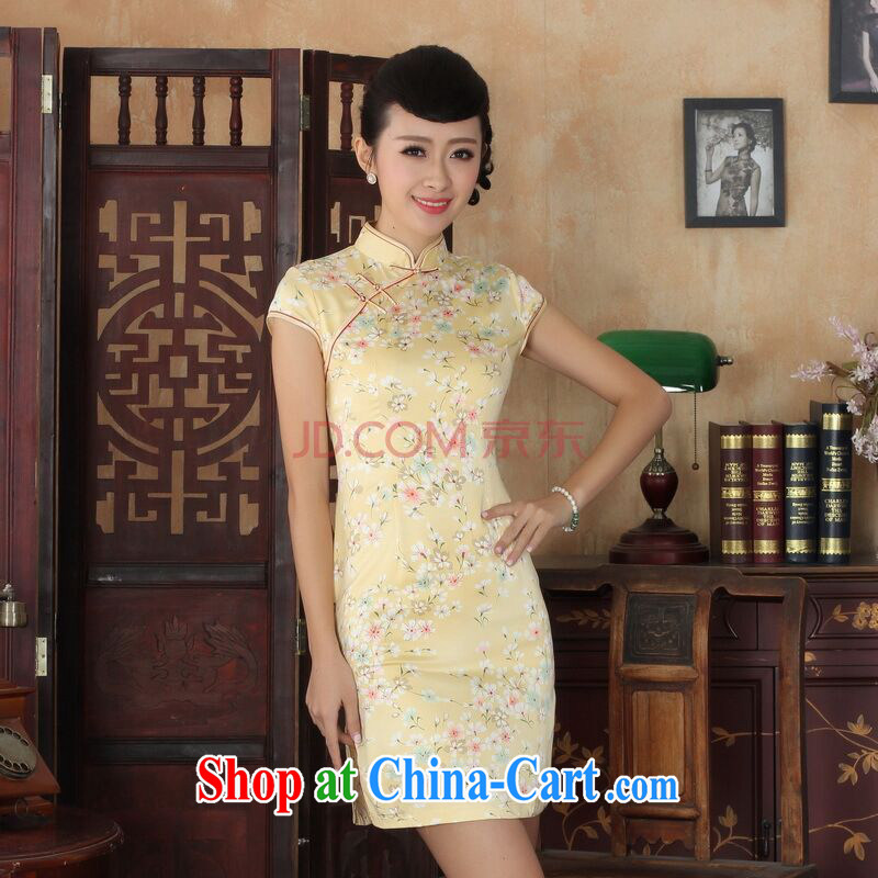 The bandwidth, cheongsam Chinese dresses new summer elegance Chinese qipao Chinese graphics thin short cheongsam yellow 2XL