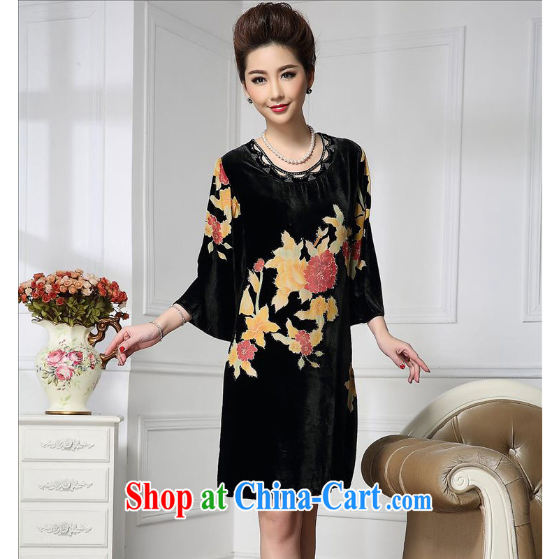 Forest narcissus spring 2015 the new Golden Flower wide sleeves Chinese mother with cheongsam silk stitching sauna silk velvet dress HGL - 651 Golden Flower XXXXL