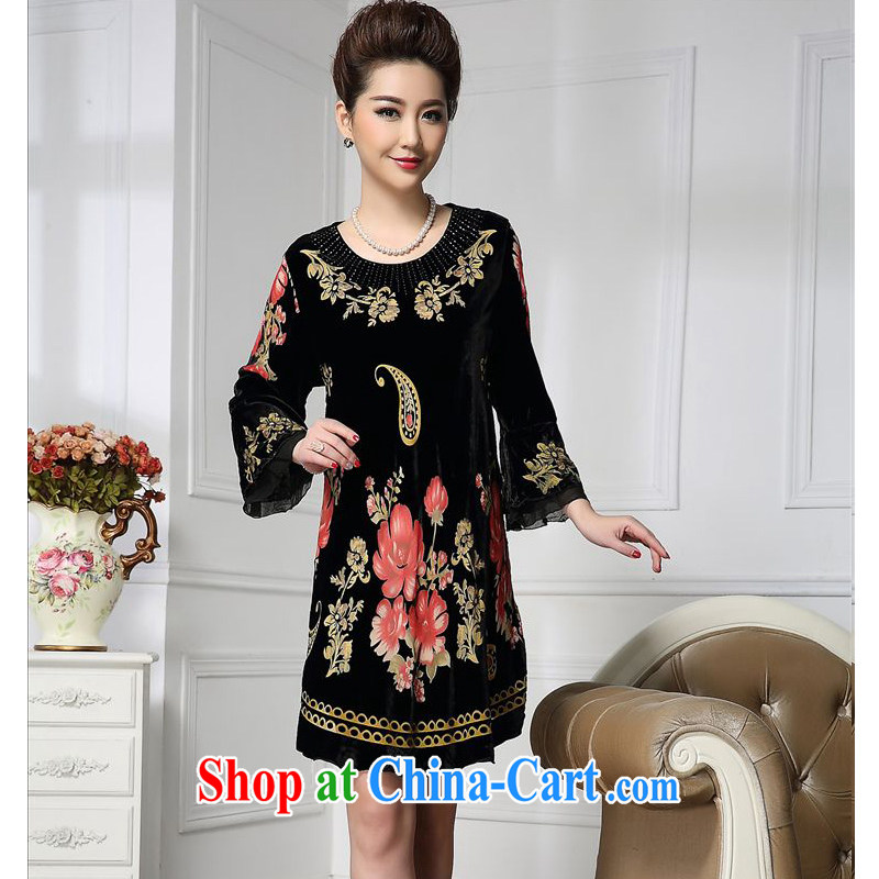 Forest narcissus 2015 spring loaded on the new staple-ju wide sleeves rich take Chinese mother with cheongsam silk stitching sauna silk velvet dress HGL - 650 photo color XXL