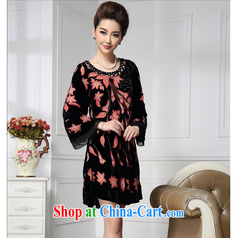 Forest narcissus 2015 spring loaded on new longer flowering wide sleeves staple Pearl Chinese mother with cheongsam silk stitching sauna silk velvet dress HGL - 631 picture color XXXXL