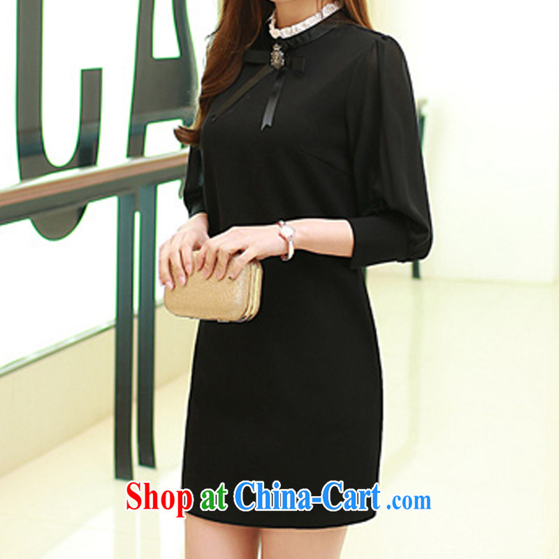 Pull one on Chrome Mox suite 201 spring new long-sleeved cheongsam dress lady sweet aura light cooked female elegant beauty black XL, Memnarch a cluster, and shopping on the Internet