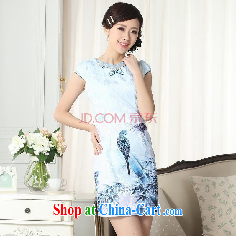 The broadband lady stylish jacquard cotton cultivating short cheongsam dress new improved cheongsam dress picture color 2 XL