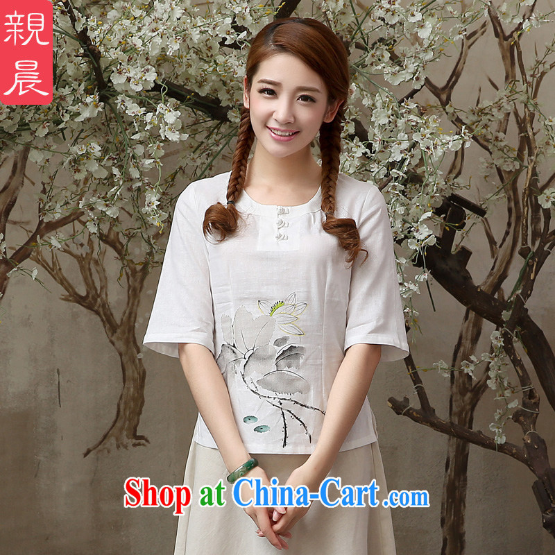 The pro-am 2015 as soon as possible new summer cotton the retro loose improved stylish short daily linen dresses T-shirt T-shirt 2XL