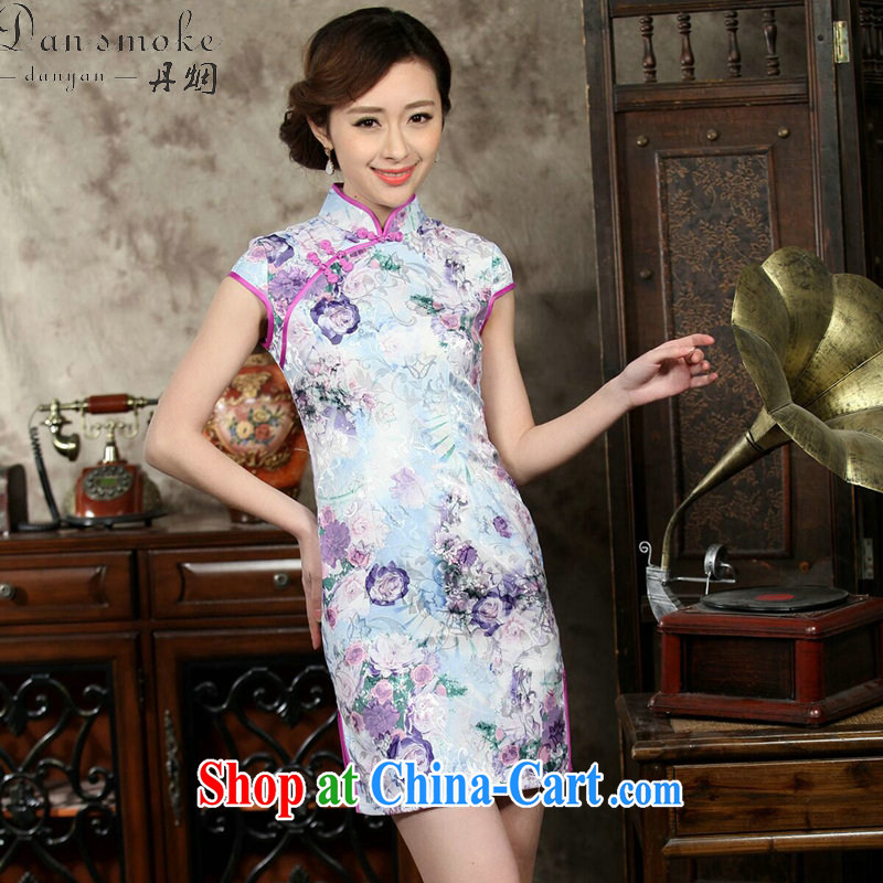 Bin Laden smoke female daily improved short, Retro cheongsam dress summer Chinese jacquard cotton stamp elegant beauty figure color 2 XL