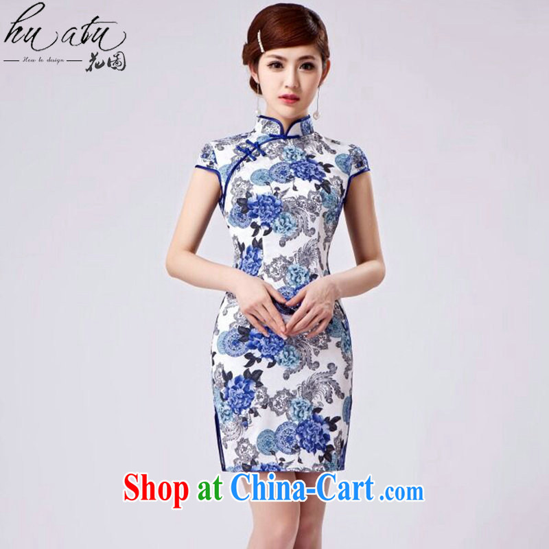 Take the new, improved day-short retro cheongsam dress Chinese improved, stamp duty for beauty and elegant short cheongsam figure color XL