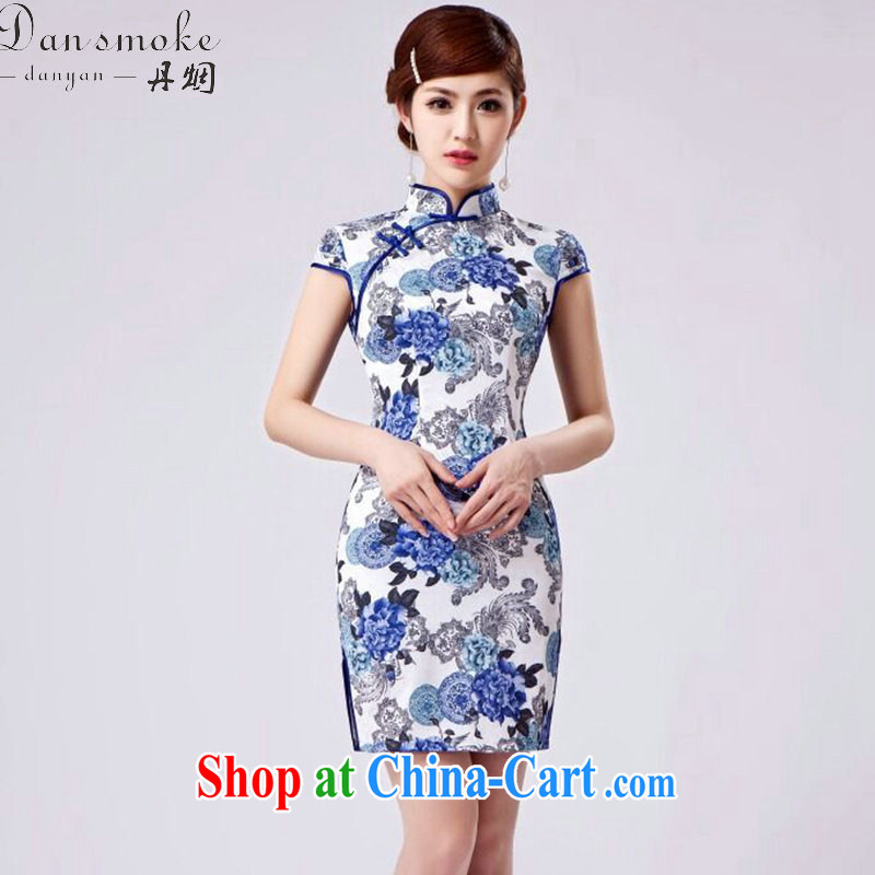 Dan smoke new daily improved short retro dresses dresses Chinese improved, stamp duty for beauty and elegant short dresses such as the color 2 XL