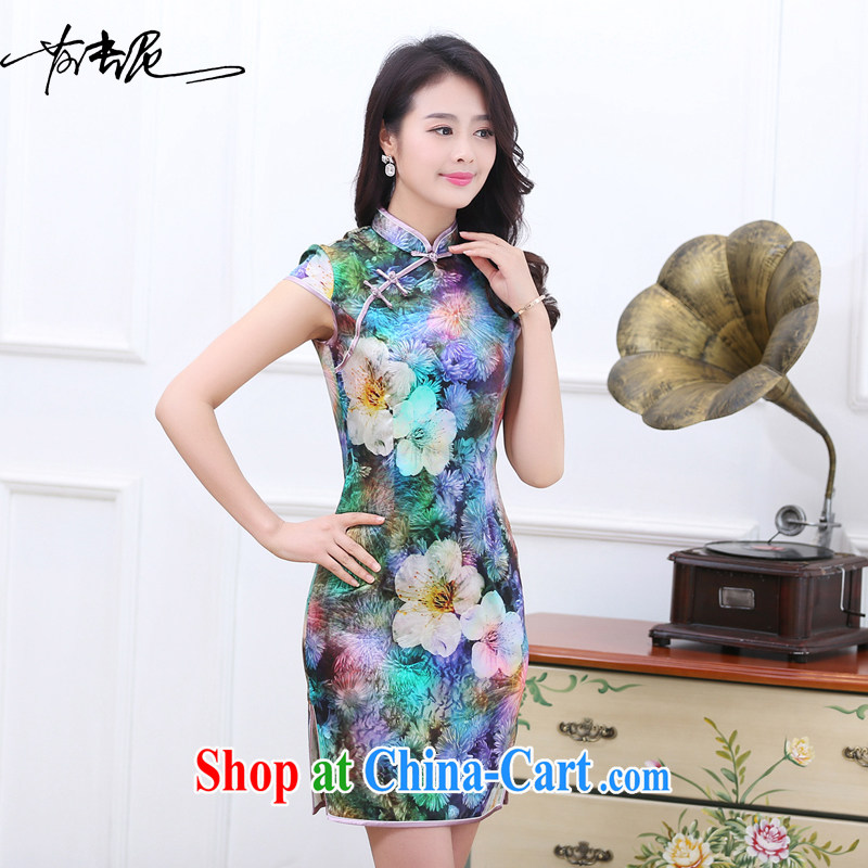 Dresses new 2015 spring and summer retro short-sleeved improved stylish sauna silk heavy Silk Cheongsam dress the color 1536 7 color XXL