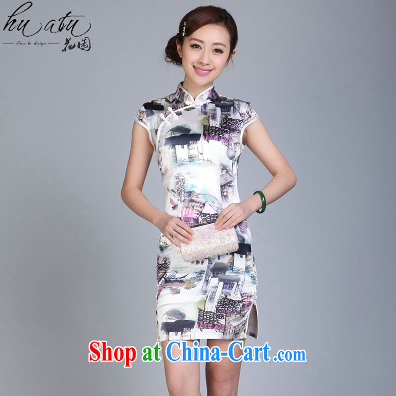 Take the Chinese cheongsam dress summer stylish Chinese, for Brocade short-sleeved clothes ceremonial cheongsam stylish improved cheongsam as color 2XL