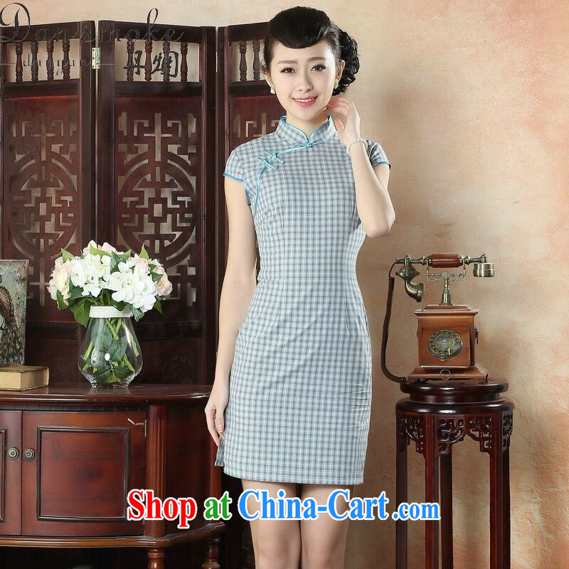 Bin Laden smoke summer new cheongsam Chinese female Chinese improved retro cotton the cheongsam dress Korea aura tartan dresses such as the color 2 XL
