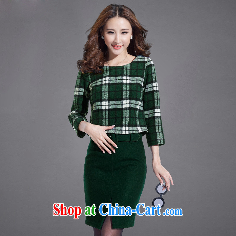 Ya-ting store spring new two-piece 2015 spring European sites in Europe and modern street package and grid shading hair? dresses green tartan XL