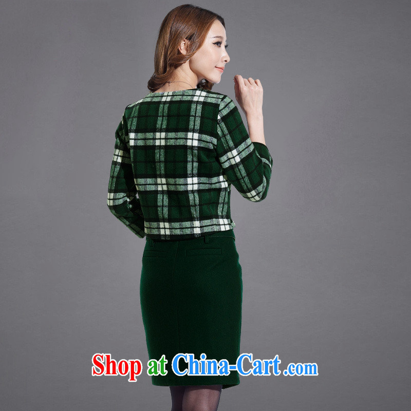 Ya-ting store spring new two-piece 2015 spring European sites in Europe and modern street package and grid pattern that gross dress green tartan XL, blue rain bow, and, shopping on the Internet