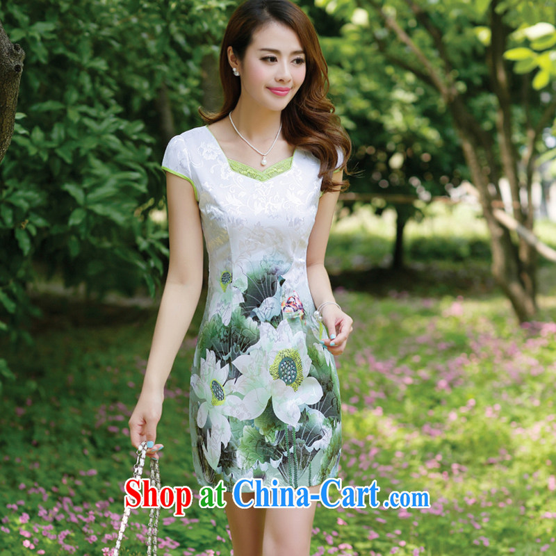 2015 female new Ethnic Wind Chinese half sleeve Chinese stamp ink retro beauty charm graphics thin package and cheongsam dress Lotus Green S