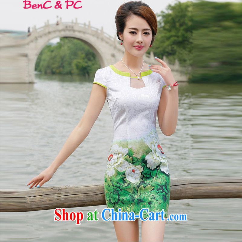 Yi's 2015 country girl with new Ethnic Wind Chinese Chinese stamp ink retro beauty style graphics thin package and cheongsam dress green peony flower L