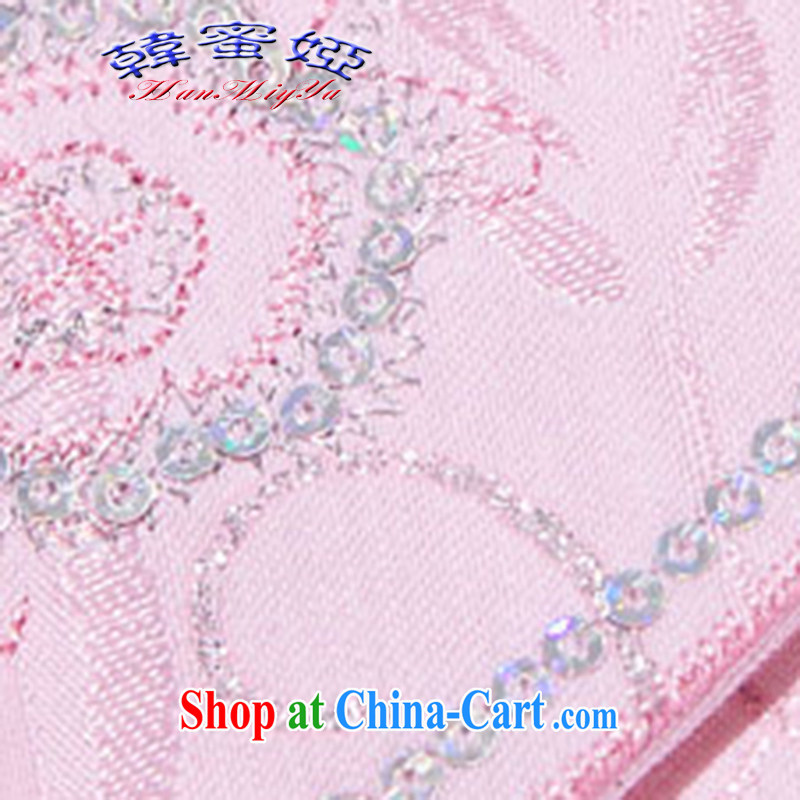 Korean honey Julia 2015 spring and summer new stylish embroidered improved cheongsam DR 69,223 pink XL