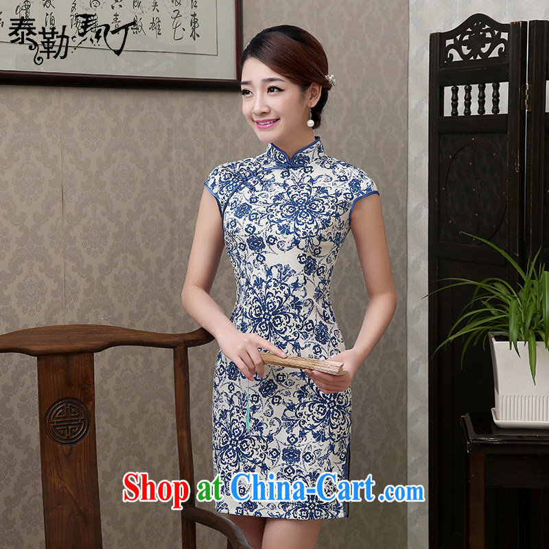 2015 blue and white porcelain cotton robes short Korea summer retro improved cultivation video thin everyday dresses skirts dresses elegance lady outfit blue and white porcelain 1S