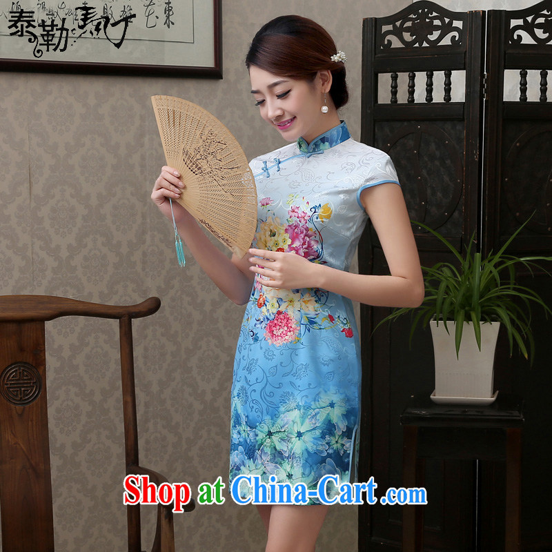 Martin Taylor 2015 light blue stamp daily short dresses summer improved stylish beauty cheongsam dress idyllic small fresh female light blue XXL