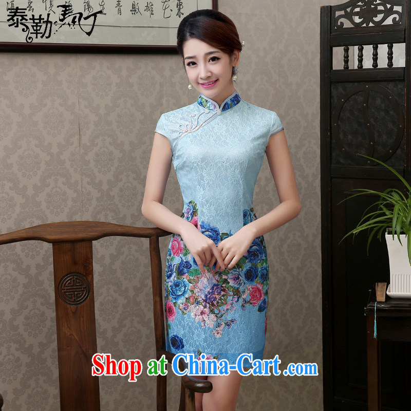 Martin Taylor 2015 Ice Blue stamp duty composite lace short summer dresses retro improved elegance beauty cheongsam dress Ice Blue XXL
