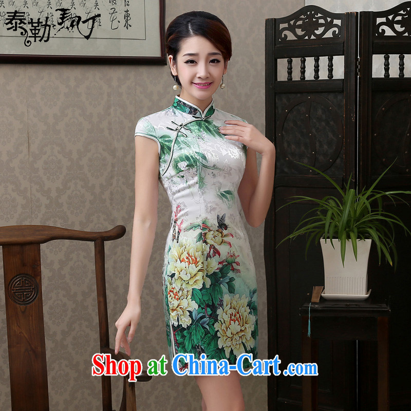 2015 spring and summer new blue Daisy cotton day dresses short retro improved beauty package and cheongsam dress elegant female blue Daisy XXL