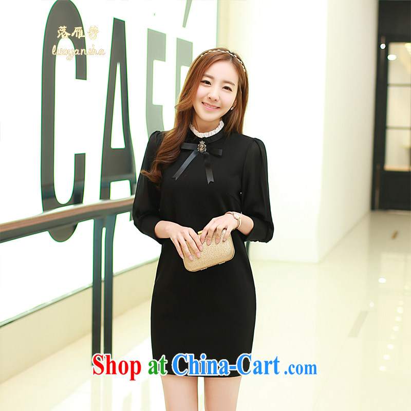 Lok Yan SA 201 spring loaded new long-sleeved cheongsam dress lady sweet aura light cooked female elegant beauty with female black XL