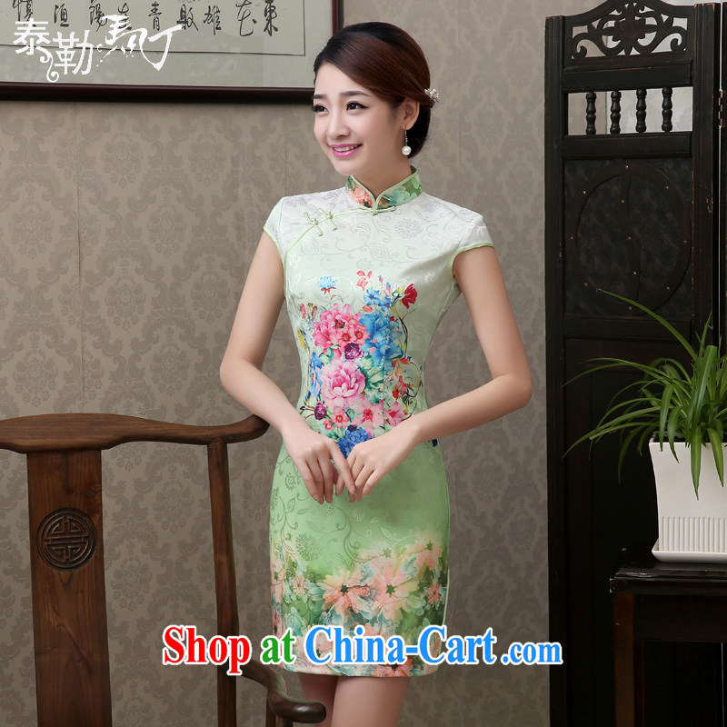 2015 spring and summer new ICE-green stamp duty click cheongsam short-sleeved improved stylish beauty cheongsam dress small fresh style green XXL