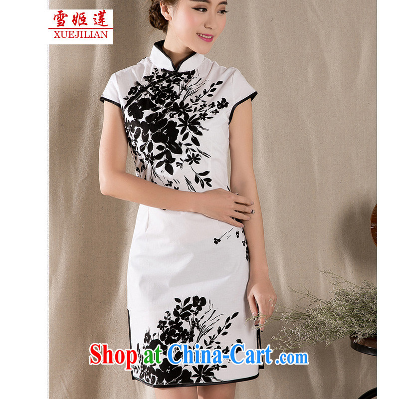 Hsueh-Chi Lin Nunnery 2015 summer new stylish and refined antique cheongsam dress China wind stamp dress #1225 white XL