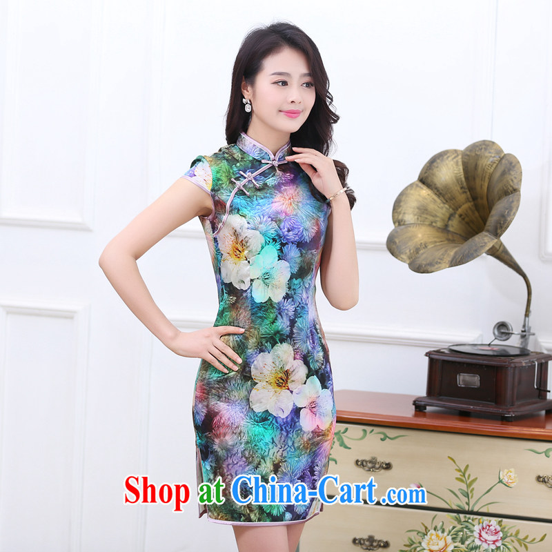 Dresses new 2015 spring and summer retro short-sleeved improved stylish sauna silk heavy Silk Cheongsam dress the color 1536 7 color L