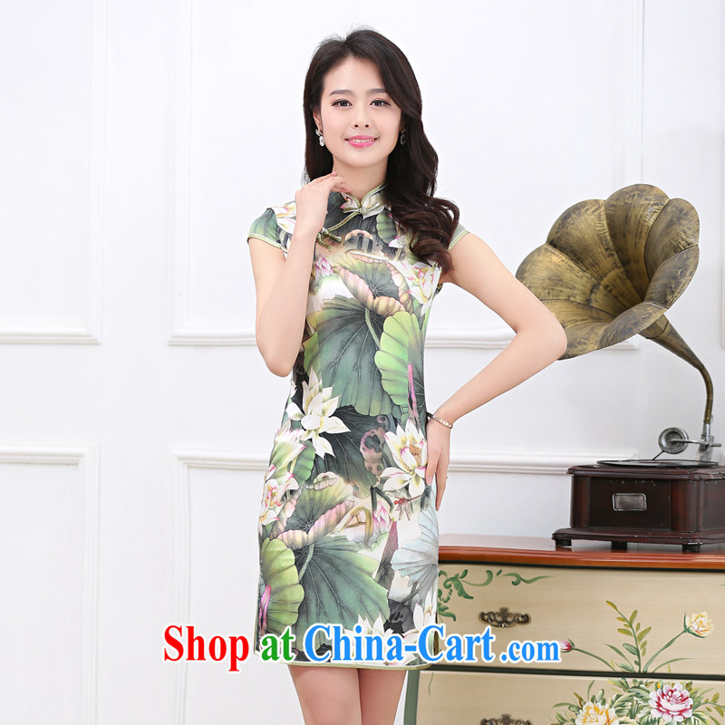 2015 spring and summer new upscale heavy Silk Cheongsam sauna silk retro double-long high on the truck cheongsam dress 1535 Lotus Pond L