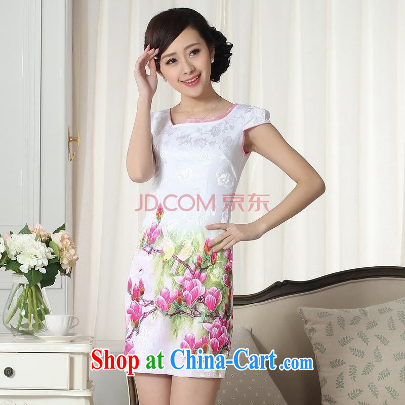 The broadband new summer elegance Chinese qipao improved graphics thin short cheongsam picture color 2 XL
