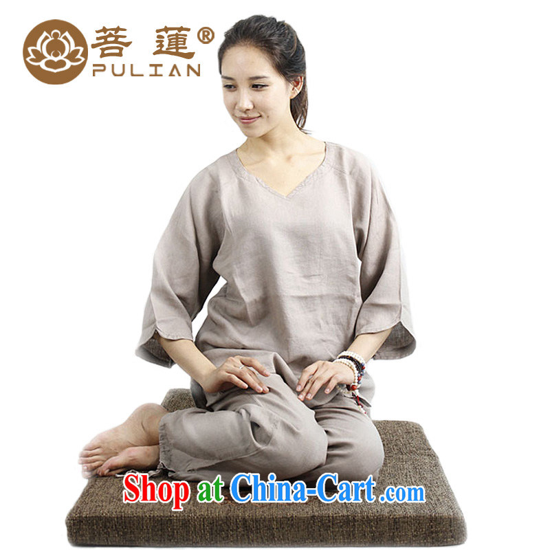 Restrictive Lin plain linen V for manual painting Female Chinese wind meditation Nepal yoga clothing_Tai Chi meditation pad service card its color XS