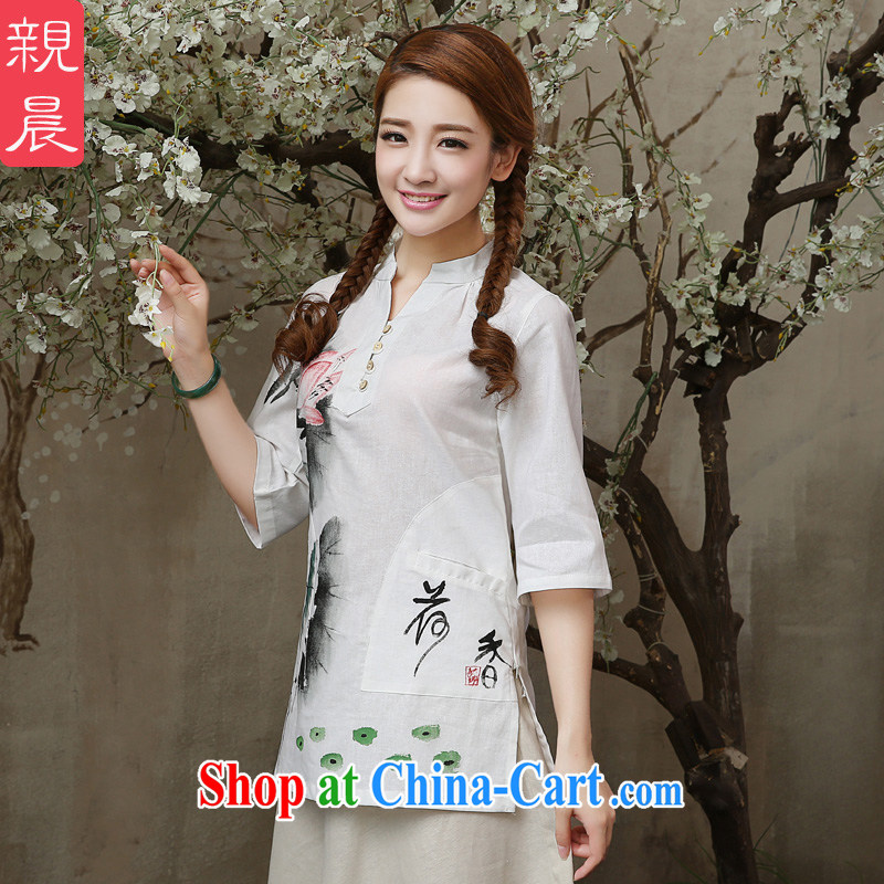 pro-am 2015 New Spring Summer Day retro improved stylish ethnic wind short cotton linen dresses Yau Ma Tei T-shirt T-shirt XL