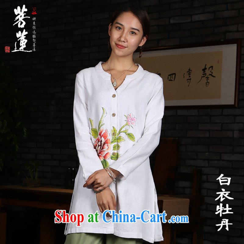 Bodhi-lin cotton ramie Ma girl, long-sleeved leisure hand-painted monastery Yi China wind yoga meditation Nepal meditation Tai Chi uniform white coat painted Peony XL