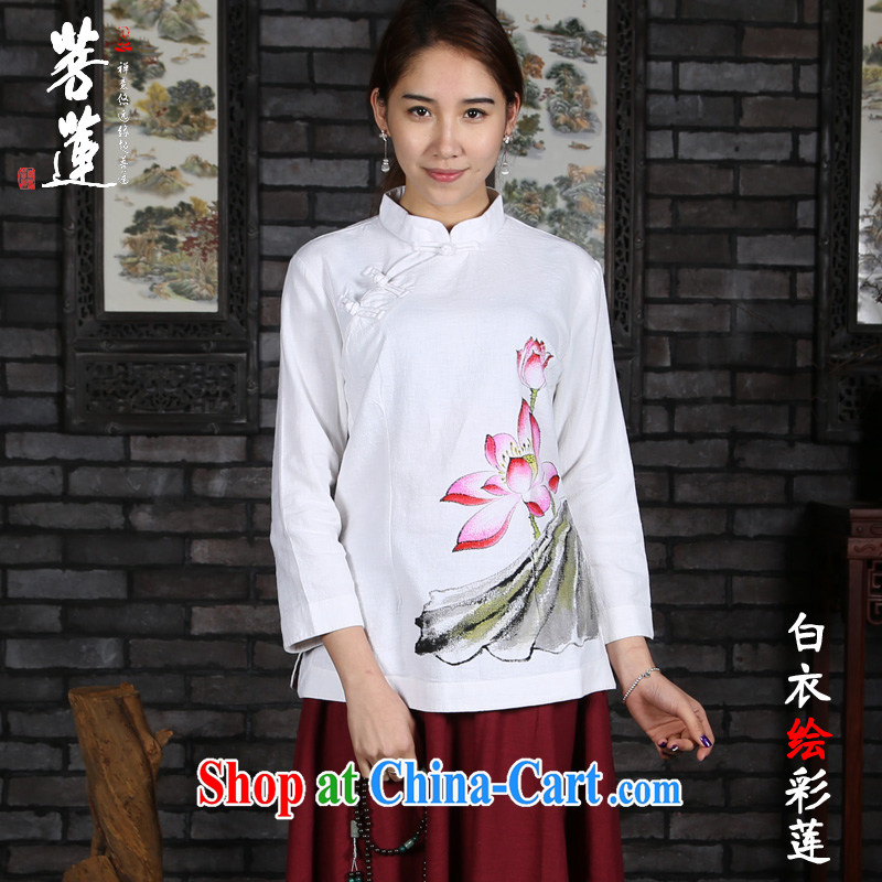 Restrictive Lin cotton Ma retreat Yi girl, Tang with Nepal clothing/fabric ramie cotton painting China wind Zen yoga Tea Service white painted color Lin M