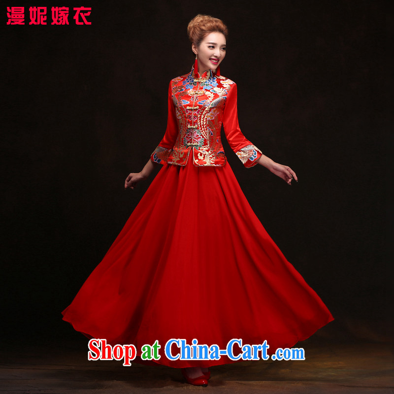Show reel Service Bridal red Chinese Dress retro dresses bridal toast dress wedding Phoenix use new 2015 toast clothing cheongsam dress red XXL