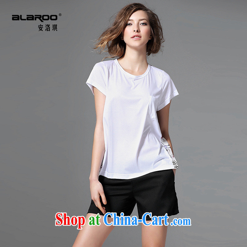Health concerns women _ 2015 European site spring and summer female new day silk stitching A-pro-skin-neck stamp girls T-shirt white L