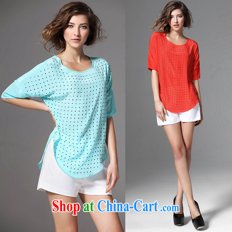 Health concerns women _ 2015 European site spring and summer female new silk and Hot Hot drill in loose cuff shoulder slide girl T-shirt light blue XL