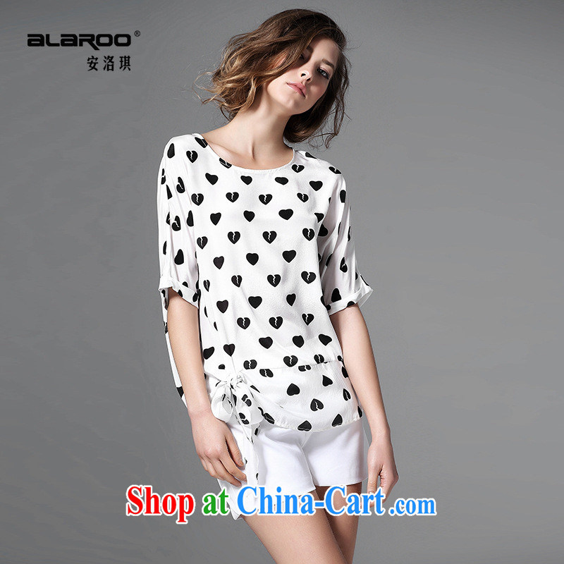 Health concerns women * 2015 European site spring and summer female new love stamp bat sleeves bow-tie the shoulder silk shirt m White XL