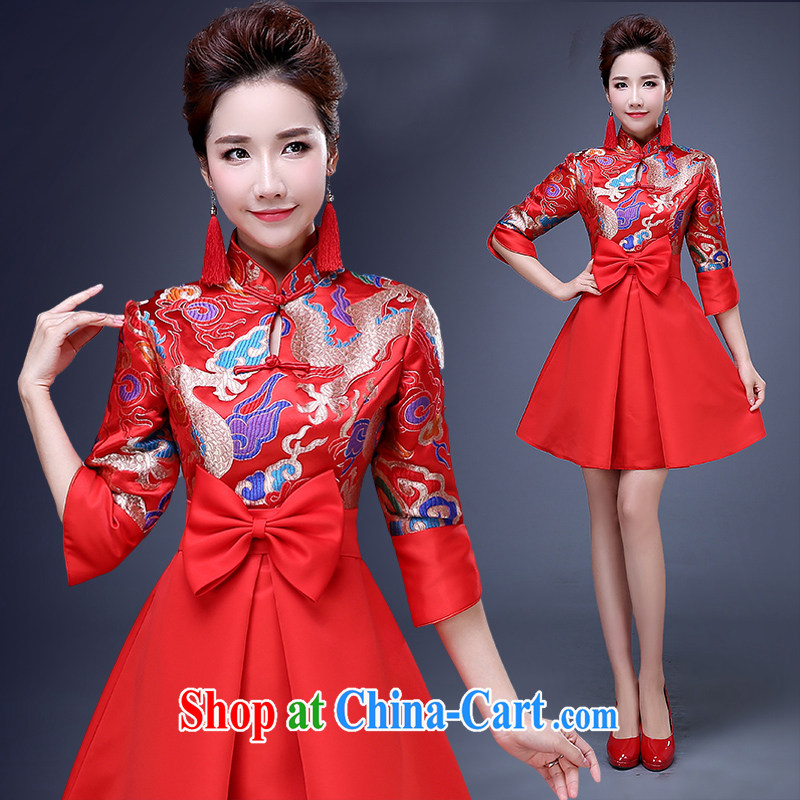 Pregnant women bridal long dresses summer 2015 New Products New Evening Dress long red wedding toast serving Phoenix and red short L