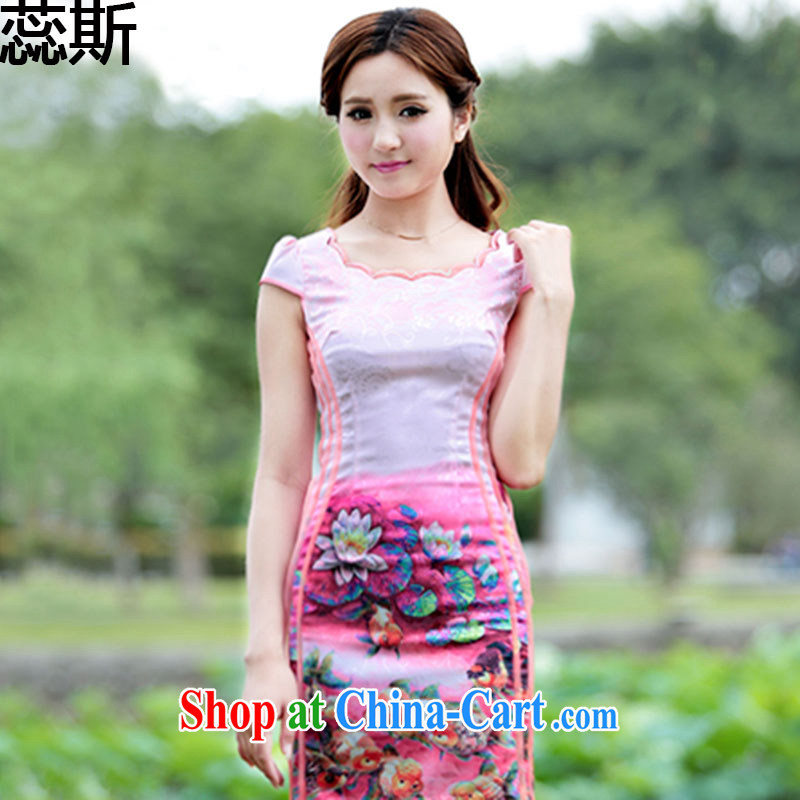 The acajou _2015 summer new Peacock dresses retro dress everyday Chinese Dress improved stylish summer short cheongsam girls A 0010 photo color XL