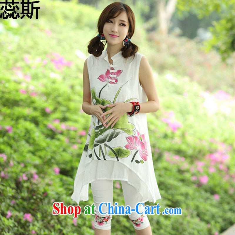 The acajou (2015 summer new, in accordance with Dora Ethnic Wind women dresses hand-painted linen, for improved cheongsam Kit 8123 Lotus Kit code