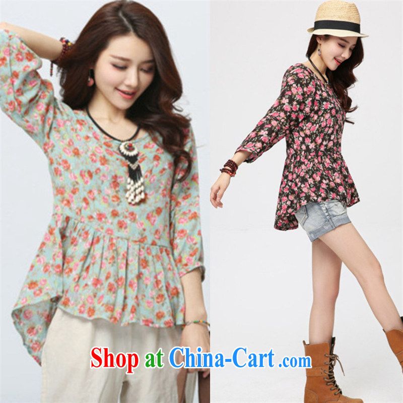 Black butterfly 2015 spring and summer new female Korean version with round collar shirt T 100 hem, with irregular small floral cotton the small shirt 3D 06 green ground saffron XXL