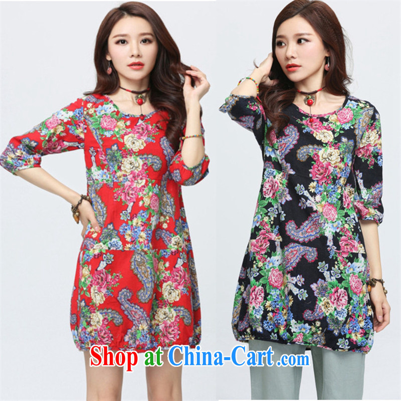 Black butterfly 2015 spring loaded the code female new ethnic wind stamp round-collar cotton in the commission long T shirt 3D 09 black flower XXL